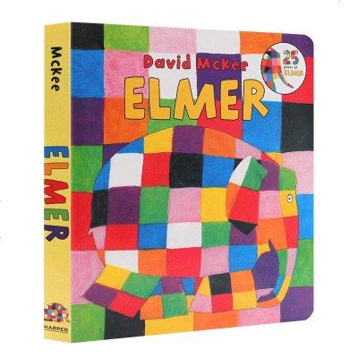 花格子大象艾瑪 英文原版 Elmer 吳敏蘭繪本123 紙板書 英文版 育兒啟蒙2-6歲閱讀圖畫書可愛動物互幫互助童