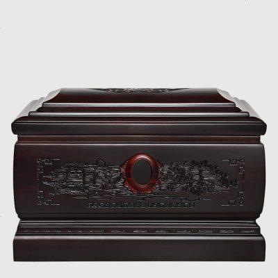 檀星星 骨灰盒實木黑檀木壽盒小棺材殯葬用品榫卯骨灰盒實木