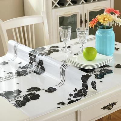 木兒家居 簡約現代軟質玻璃桌布餐桌墊隔熱免洗花紋軟玻璃透明磨砂加厚方圓防水防燙水晶板60cm*60cm厘米