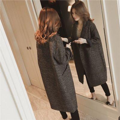 加棉毛呢外套女中长款加厚风衣女装秋冬宽松大码格子呢子大衣