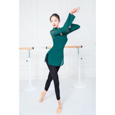 古旗皇成人现代舞蹈服女修身上衣网纱衣古典形体芭蕾舞蹈练功服