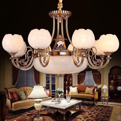 欧式云石灯客厅全铜云石吊灯欧式美式吊灯全铜高端别墅灯具定制 西班牙进口云石-6头