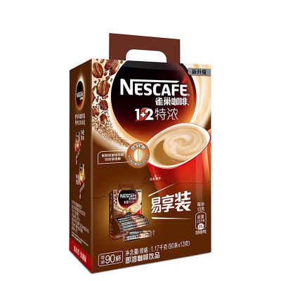 雀巢(Nestle) 1+2 特濃速溶咖啡 90條 1.17kg盒裝 沖調飲品