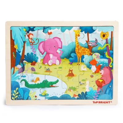 特寶兒(topbright)森林動物拼圖 50塊以下寶寶木制玩具 24片拼圖 男孩女孩兩歲以上兒童及成人玩具120394