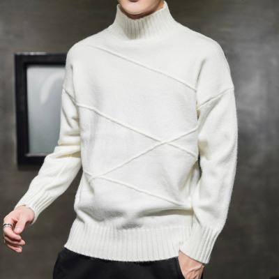 新款冬装毛衣男士长袖套头帅气半高领针织衫线衣色打底衫潮
