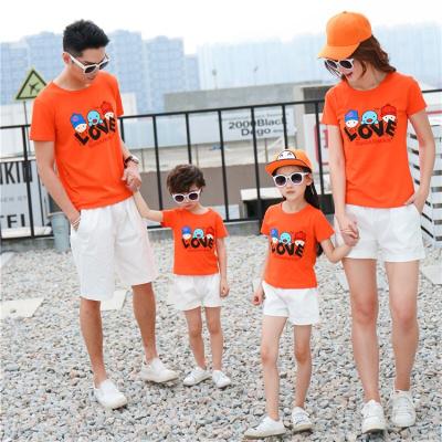 子裝夏裝一家三口母女裝母子裝家庭裝短袖T恤運動套裝