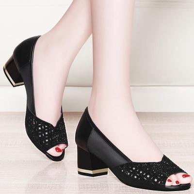 夏季韩版百搭时尚单鞋女粗跟网纱镂空鱼嘴鞋中跟女凉鞋