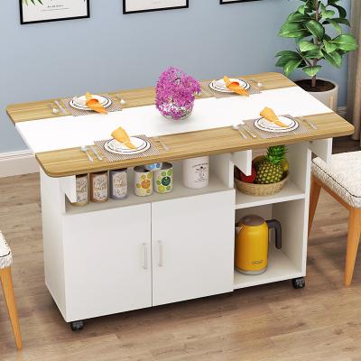 餐桌椅組合現代簡約北歐伸縮折疊餐桌小戶型家用長方形餐邊柜飯桌哇哎哩