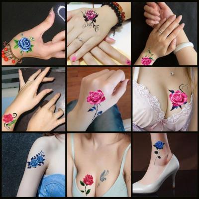 性感紋身貼韓國紋身貼紙防水女仿真玫瑰花遮痕刺青文身小清新持久