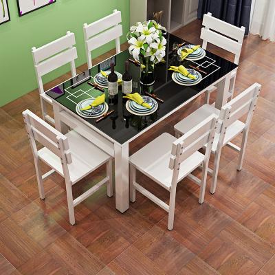 妙旭鋼化玻璃餐桌椅組合黑色白色家用吃飯桌子小戶型長方形桌現代簡約
