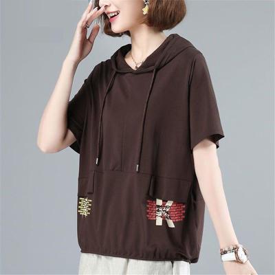 芷臻zhizhen95棉連帽短袖T恤女2020年夏季新款寬松大碼女裝上衣ins潮流