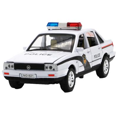 合金警车金属桑塔纳小汽车模型 儿童玩具特警玩具车声光回力