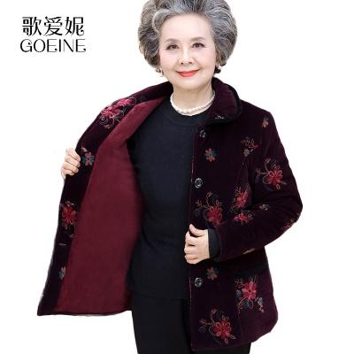 歌爱妮2019中老年人女装冬季羽绒棉服6070岁奶奶装棉衣妈妈装唐装老太太棉袄