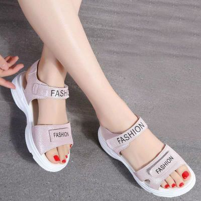 新款夏季涼鞋女學生韓版魔術貼運動女涼鞋厚底松糕底沙灘女鞋 諾妮夢