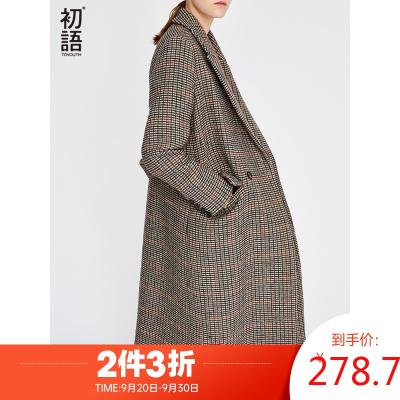 初語秋新款千鳥格毛呢外套寬松長款西裝領雙排扣格子呢大衣女