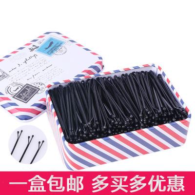 黑色一字夹发夹成人波浪夹小黑卡子头饰钢夹边夹发卡发饰盒装