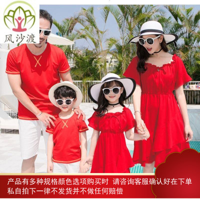母女装夏裙亲子装洋气春秋裙子209潮母子装男童一家三口图片件数为展示