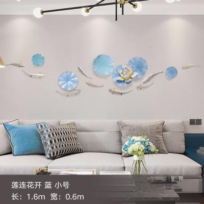 現代輕奢風裝飾閃電客創意墻面裝飾客廳電視背景墻客餐廳臥室墻壁掛飾件 蓮連花開藍小號金魚經典款