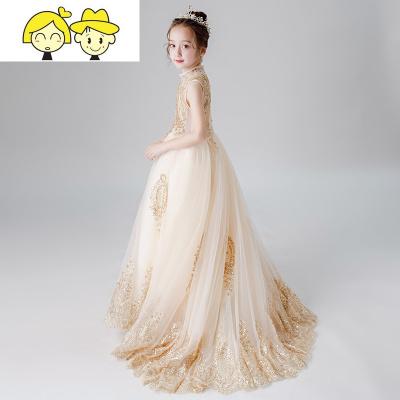 花童公主裙儿童生日蓬蓬裙女童钢琴演出服大童走秀舞台长款晚礼服
