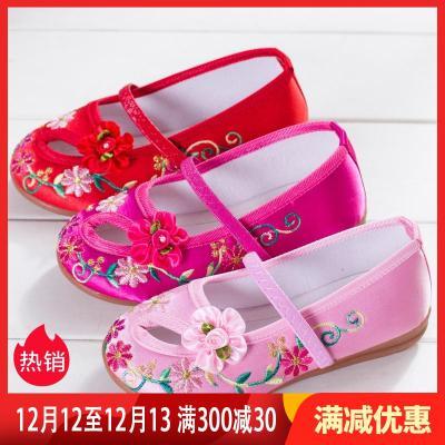 新款儿童布鞋女童绣花鞋民族风公主鞋学生古装表演出鞋 臻涩