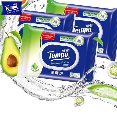 得寶(Tempo)舒敏濕廁紙40片3包裝 私處潔潔廁濕巾成人衛生濕巾潔膚肌專用