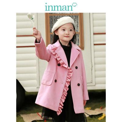 茵曼INMAN童装女童中大童冬季2018新款韩版时尚都市儿童呢大衣公主风翻领大衣