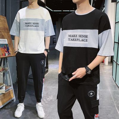 墨爾斯特(MO ER SI TE)2020夏季男休閑運動兩件套裝五分袖T恤印花寬松潮男學生套裝男TZ226