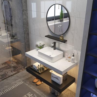 北歐大理石洗手臺洗臉盆柜組合衛生間洗漱臺現代簡約小戶型浴室柜 大理石雙層0.9+米圓鏡(白+黑)