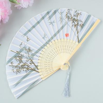 扇子折扇中國風舞蹈扇女夏季折疊扇古裝兒童小復古布古典古風折扇 13青竹