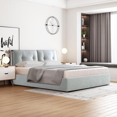 喜臨門布藝床 北歐可拆洗布藝軟包實木床 簡約現代臥室家具 奧克蘭