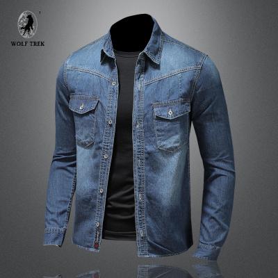 【七匹狼國際公司授權WOLF TREK 】藍色牛仔襯衫男長袖韓版修身潮流帥氣春夏季復古襯衣潮工裝上衣外套