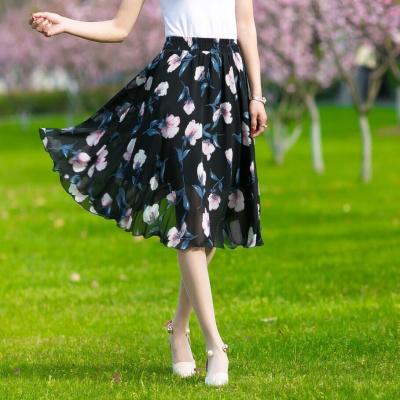 雪紡半身裙女夏季中長款裙子女士松緊腰印花大擺仙女裙薄過膝女裙