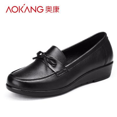 奧康女鞋軟底平跟單鞋坡跟圓頭大碼休閑女鞋中老年媽媽鞋