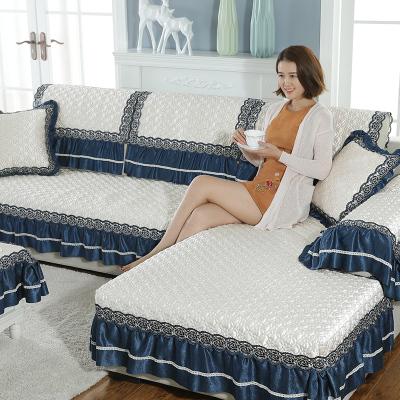 【三件85折】六月荷 四季沙發墊通用布藝防滑簡約現代客廳沙發套歐式組合沙發巾罩全包