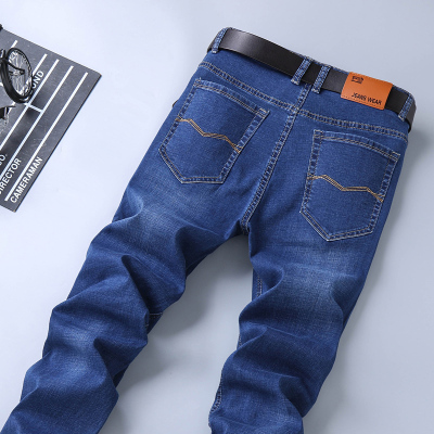 富貴鳥彈力男士牛仔褲寬松直筒修身長褲子男褲 休閑大碼男褲Z4