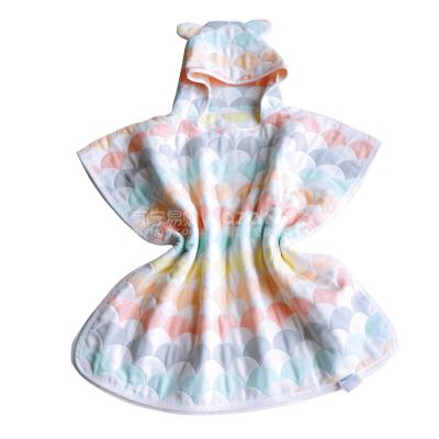 雅贊兒童純棉紗布斗篷浴巾嬰兒/成人帶帽浴巾沙灘披風浴袍四季