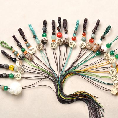 DIY材料配件手工編織蓮花祥云鑰匙扣手機鏈半成品汽車掛件繩男女
