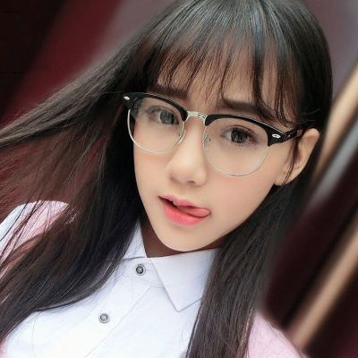 防蓝光抗辐射眼镜男女潮电脑手机护目镜无度数近视半框学生眼镜框 眼镜盒+眼镜布 亮黑-银框【防蓝光】