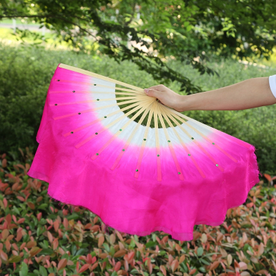 舞蹈扇子跳舞扇丝绸演出表演双面广场舞扇子-玫红右手