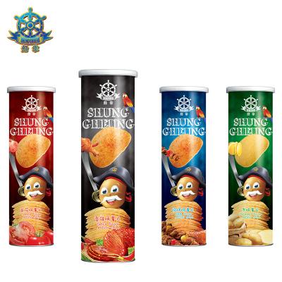 【免郵零食】船掌牌 馬來西亞進口薯片150g*4罐 四口味混合 休閑零食膨化食品燒烤番茄香辣原味 混口味150g*4罐
