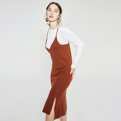 【3件1.5折价:104.4】羊毛MECITY女装侧开叉吊带毛织裙