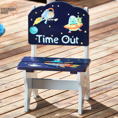 Teamson 木制小椅子換鞋凳靠背椅創意卡通星球冒險趣系列