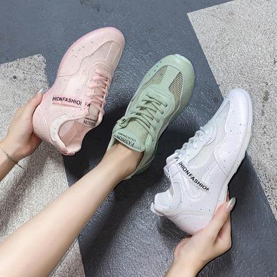 策恩公牛夜光透氣小白鞋女2020夏季新款學生韓版百搭平底跑步板鞋女休閑鞋