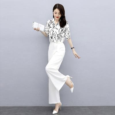 愫惠君雪紡闊腿褲套裝女時尚2020夏季新款輕熟風洋氣減齡裙褲職業兩件套