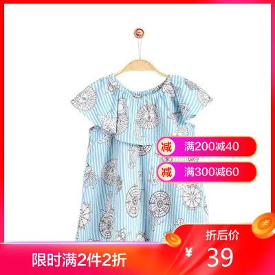 鉛筆俱樂部童裝2020夏裝新款女童短袖襯衫中大童條紋上衣兒童襯衫