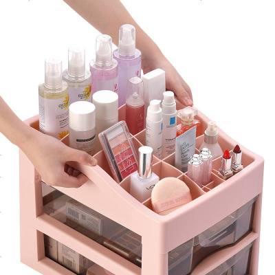 桌面抽屉式化妆品收纳盒透明塑料大号置物架家用办公护肤储物箱