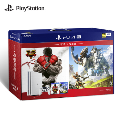 索尼(SONY) PS4 Pro新年大作套装(冰河白 1TB)国行家用游戏机 4k超清 火爆畅玩