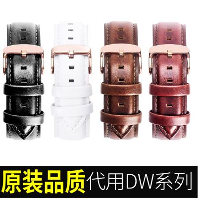 nasiR DW真皮表帶男女代用原裝鱷魚紋手表鏈丹尼爾14/18/20mm鐘表配件