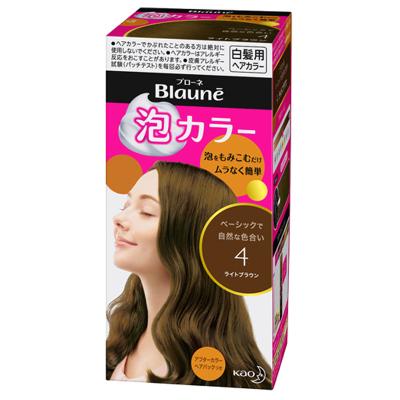 KAO花王Blaune染發劑 日本原裝 遮白發專用溫和泡沫不傷發植物泡泡4#淺棕色染發膏