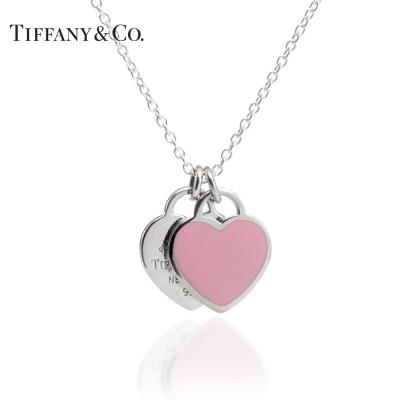 蒂芙尼(Tiffany & Co.) 925银镶双心形珐琅蓝心粉心爱心吊坠项链节日礼物